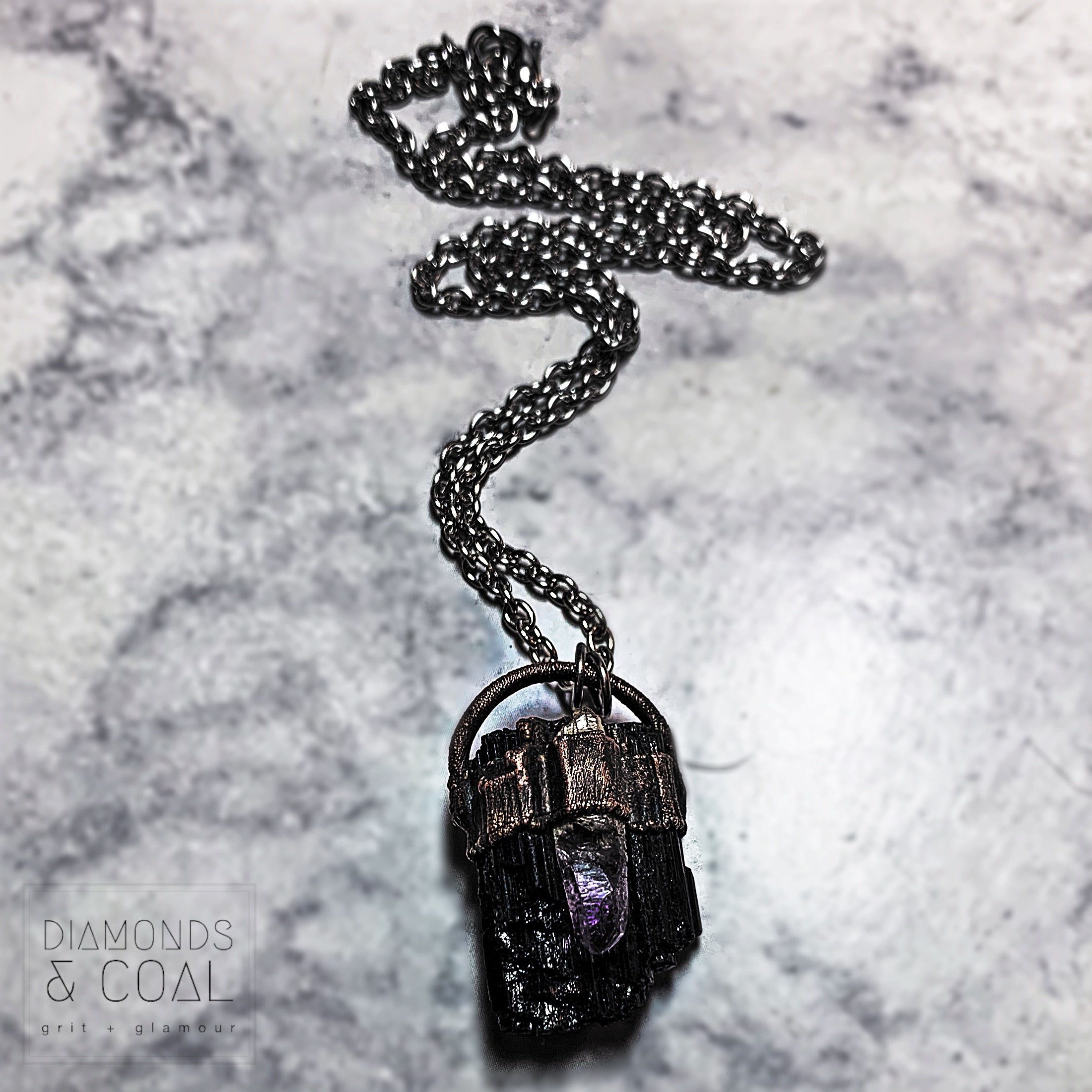 Electroformed Black Tourmaline and Brandberg Amethyst Necklace