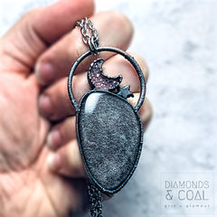 Moonlight - Electroformed Silver Sheen Obsidian and Druzy Moon Necklace