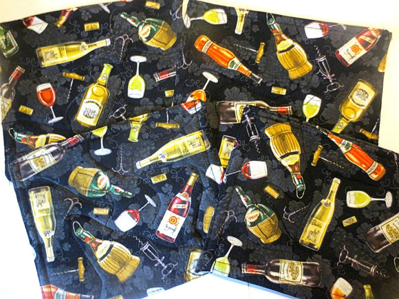 4 wine themed quilted mini snack mats or mug rugs INSULATED reversible
