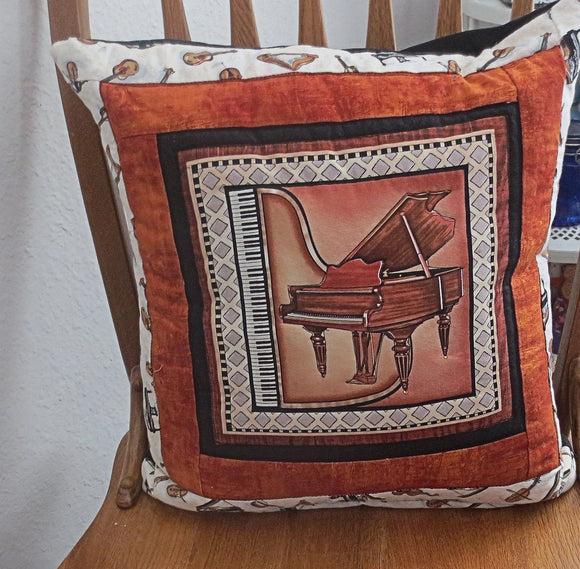 Piano quilted pillow cover musical instruments music lovers