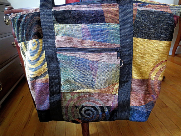 Chenille Tapestry tote bag stunning pattern organizing purse