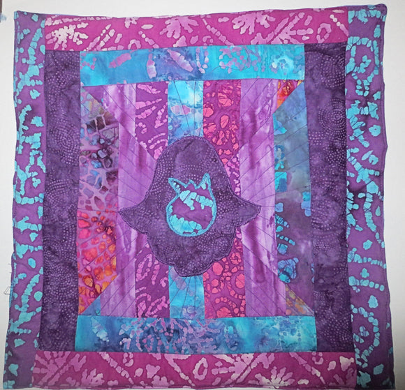 Hamsa with Pomegranate quilted batik wall hanging trabunto