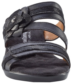 Kimmy: Black Nappa/Patent Lizard Print Leather