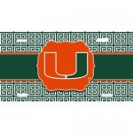 Miami Hurricanes License Plate Tag Greek Design - CanesWear at Miami FanWear Automobile Accessories Miami FanWear CanesWear at Miami FanWear