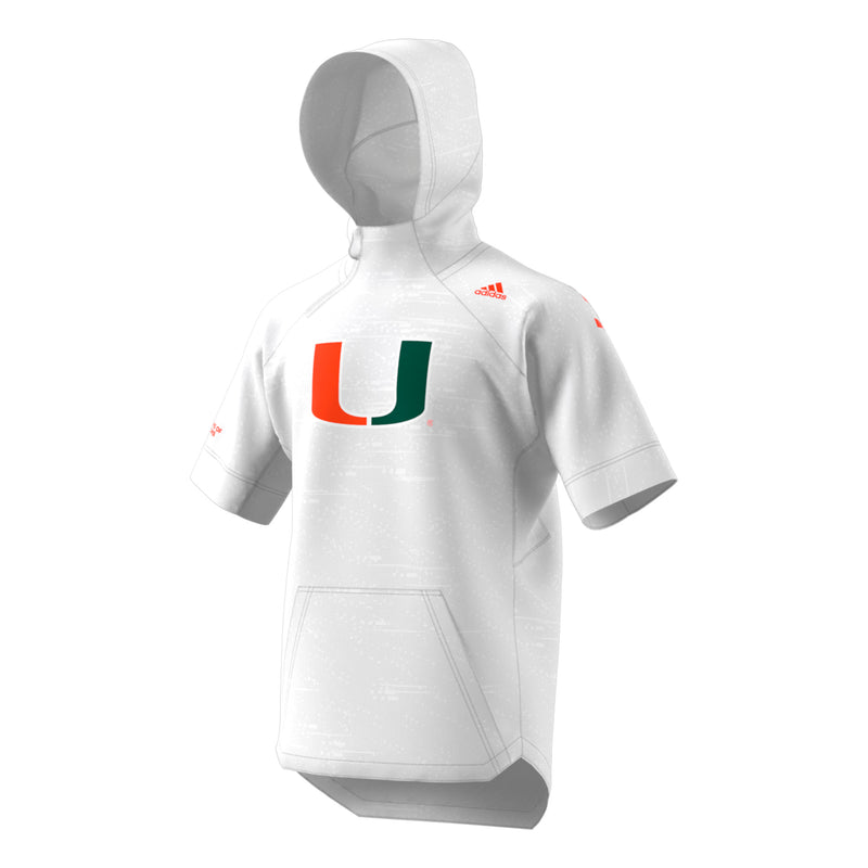 Miami Hurricanes adidas Basketball S/S  Warm-Up Top - White