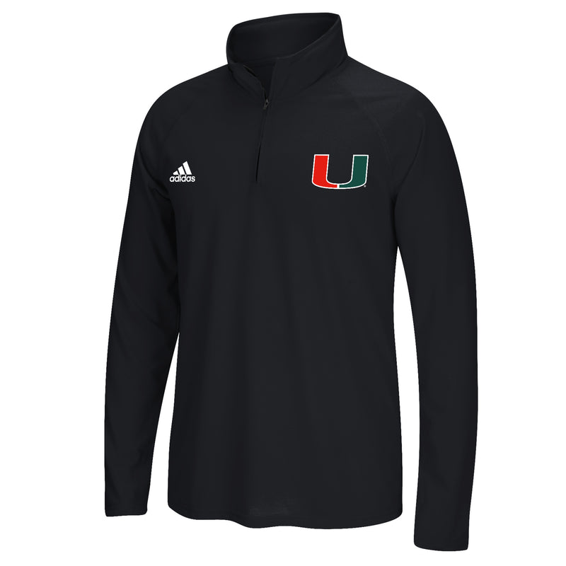 Miami Hurricanes adidas 2018 Sideline U 1/4 Zip Long Sleeve Ultimate T-Shirt - Black