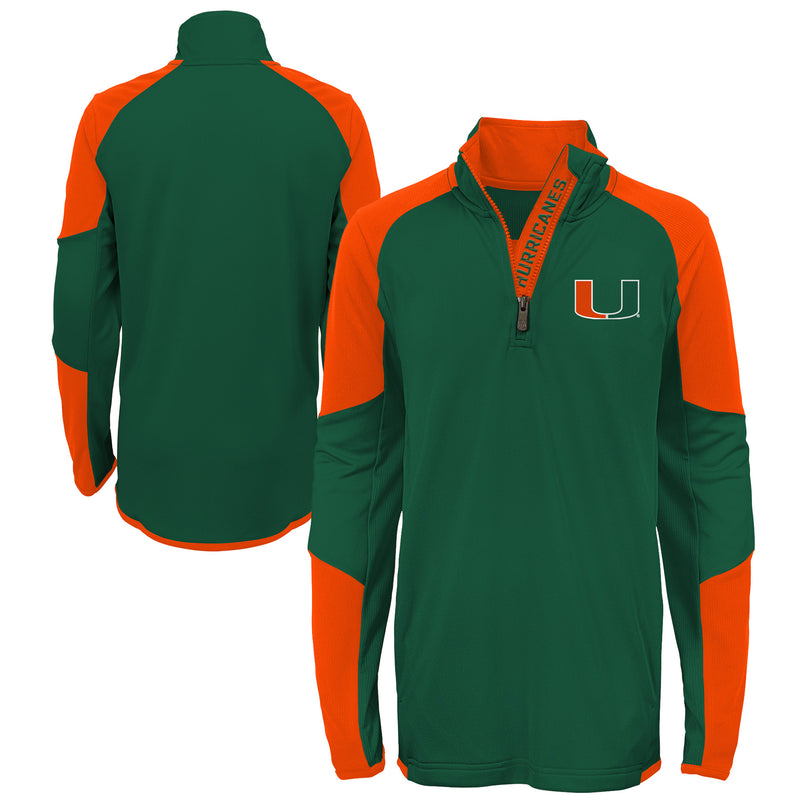Miami Hurricanes Youth 1/4 Zip Two-Tone Long Sleeve Jacket - Green/Orange