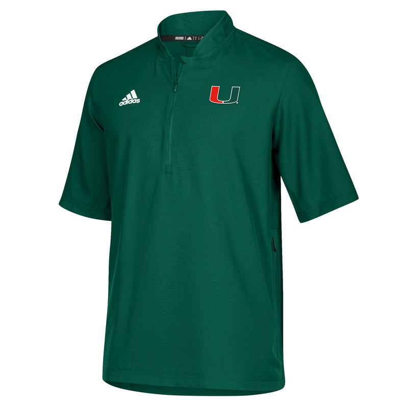 Miami Hurricanes adidas 2018 Sideline S/S Woven 1/4 Zip Shirt - Green