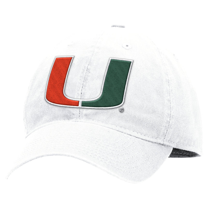 Miami Hurricanes adidas Adjustable Slouch U Hat - White