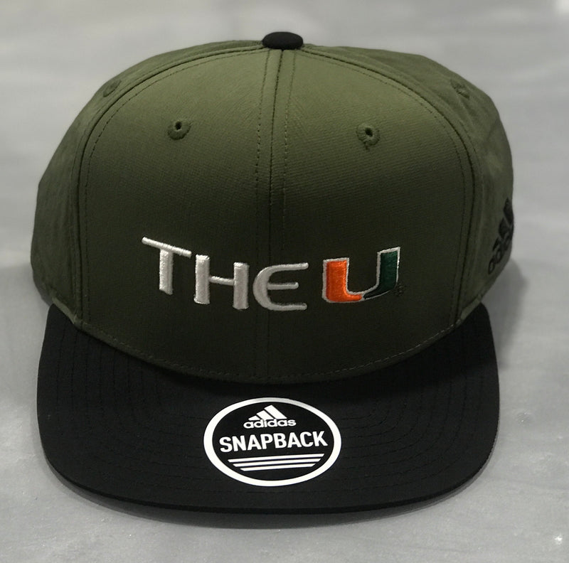Miami Hurricanes adidas 2018 The U Flat Brim Snap Back Hat- Green/Black