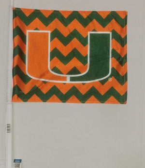 Miami Hurricanes Chevron Car Flag