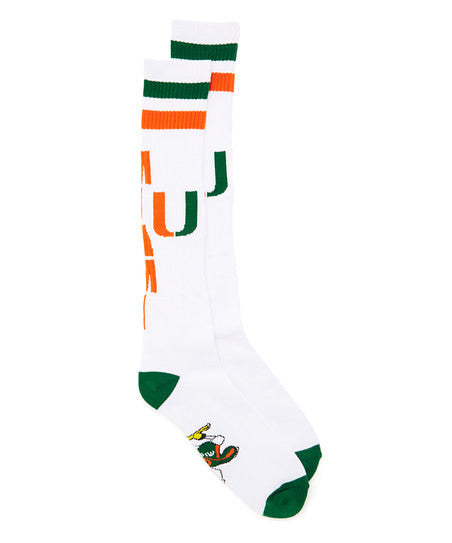 Miami Hurricanes White Tube Sock - CanesWear at Miami FanWear Footwear & Socks Donegal Bay CanesWear at Miami FanWear