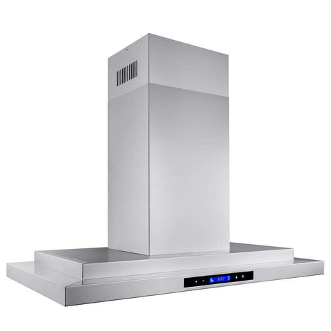 AKDY RH0180 36 Inch Convertible Kitchen Island Mount Range Hood in Stainless Steel with Touch Controls Silver New