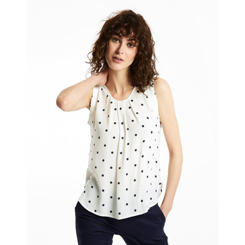 Joules Alyse Printed Capped Sleeve Shell Top