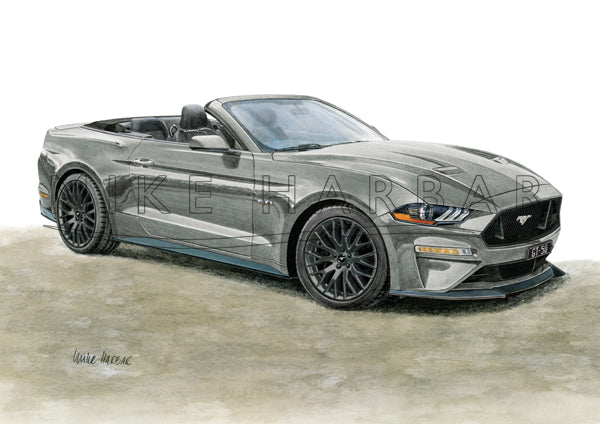 Ford Mustang 2018-19 GT 5.0 CONVERTIBLE Colour Print