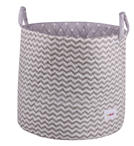 Large Storage Basket - Grey Chevron
