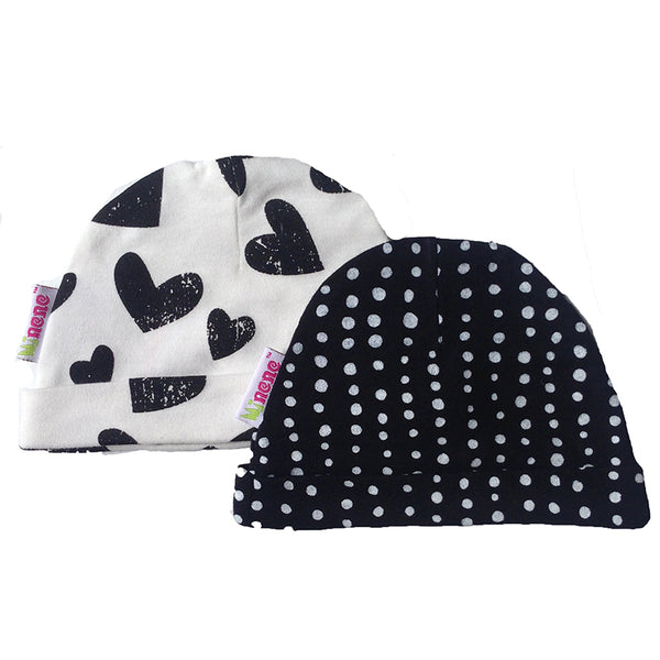 Baby Hats- Set of 2 - Black Hearts and Dots