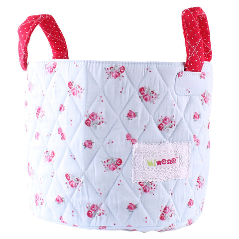 Small Storage Basket - Red Rosebuds
