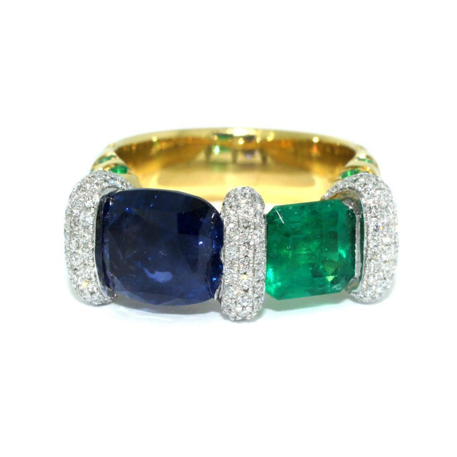 Custom-made-Bespoke-Sapphire-emerald-diamond-ring-contemporary-sydney-jeweller-lizunova