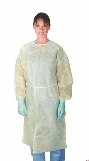 Classic Cover Lightweight Polypropylene Isolation Gowns,Yellow,X-Large, Case of