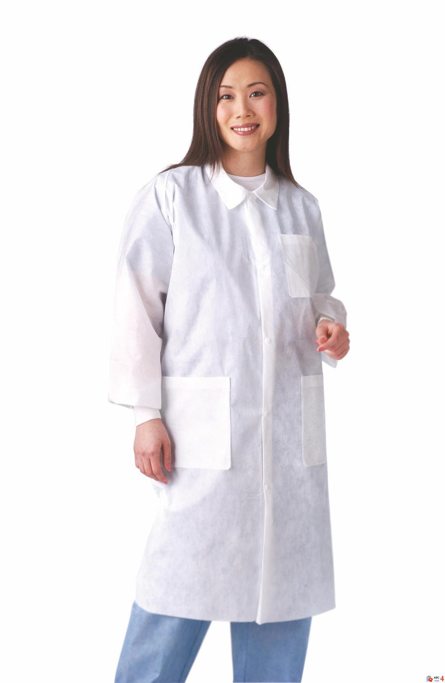Disposable Knit Cuff / Traditional Collar Multi-Layer Lab Coats,White,XL, Case o