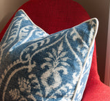 Denim Damask Blue Throw Pillow w/ White Piping