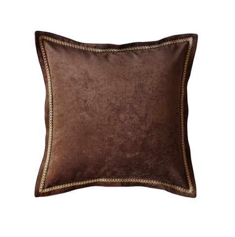 Brown Velvet Throw Pillow Cover with Trim