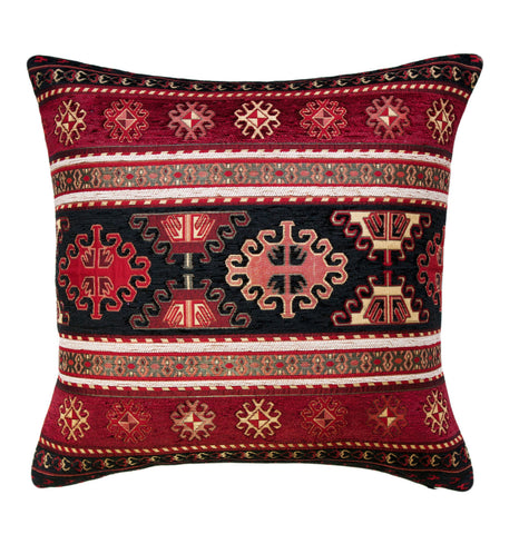 KILIM PILLOW Cover - Turkish Pillow - Tribal Pillow Cover -Ethnic Pillow Cover - Geometric Pattern - Chenille Pillow - Red Pillows