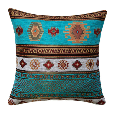 KILIM PILLOW Cover - Aztec pillows - Tribal Pillow -Ethnic Pillow - Geometric Pattern - Turkish Pillow -Chenille Pillow - Turquoise Pillows