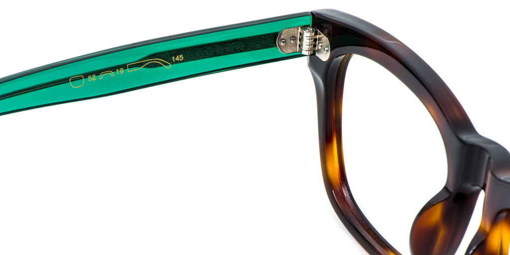 Green Detail ZILOE Edge Designer Oversized Tortoise Acetate Glasses
