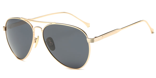 GoldBlack Main Aviator ZILOE Aviator Gold Metal Polarised Sunglasses