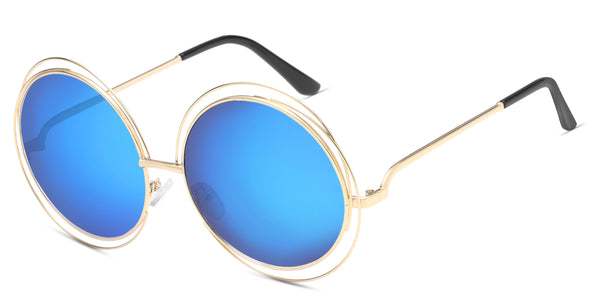 MirrorBlue Main ZILOE Sunshine Round Oversized Sunglasses