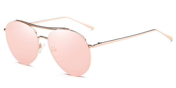 RoseGoldMirror Main ZILOE Zoom Mirror Aviator Metal Sunglasses