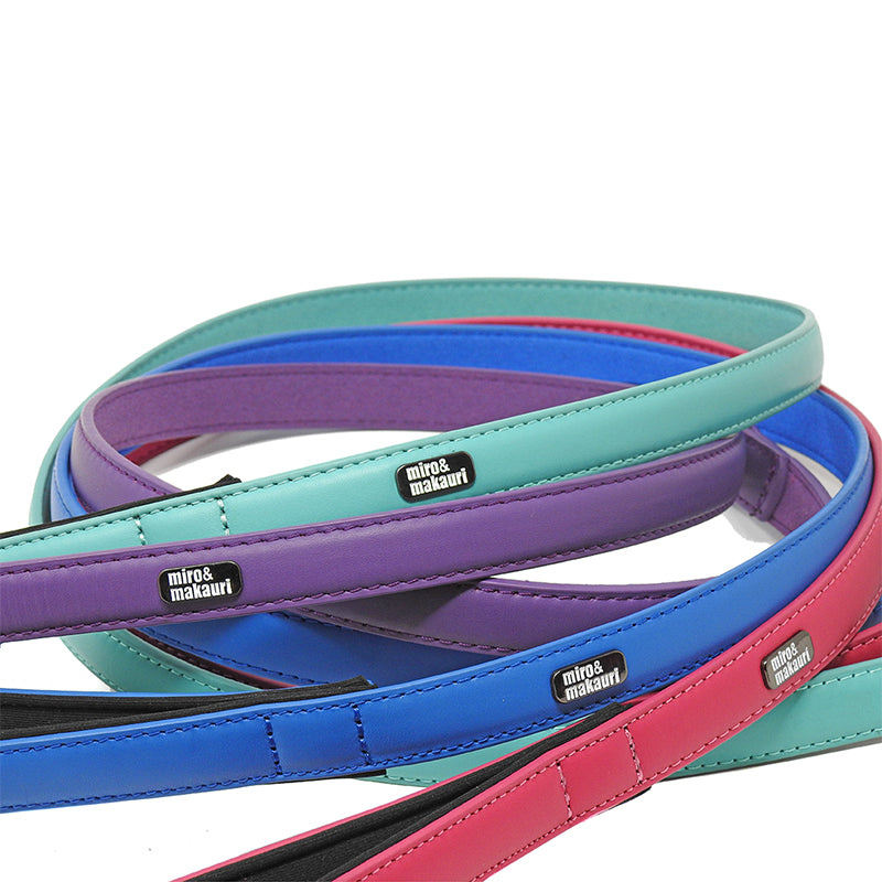 """Milford"" Leather Leads- Purple, Pink, Turquoise, Blue, Yellow"
