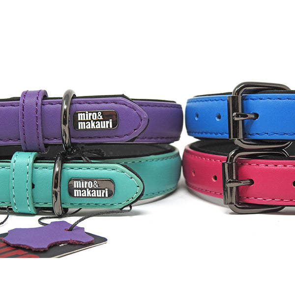 """Milford"" Leather Collars - Pink, Purple, Blue, Turquoise, Yellow"