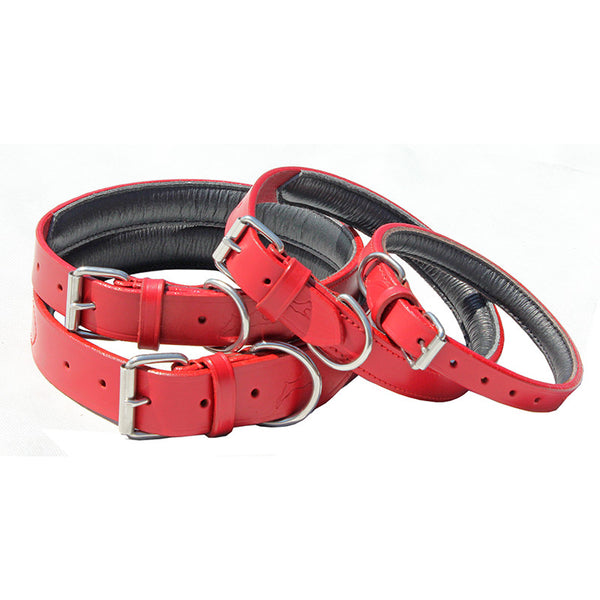Ultra Soft, Padded Leather Lined Collars - Red (Now 15% off)
