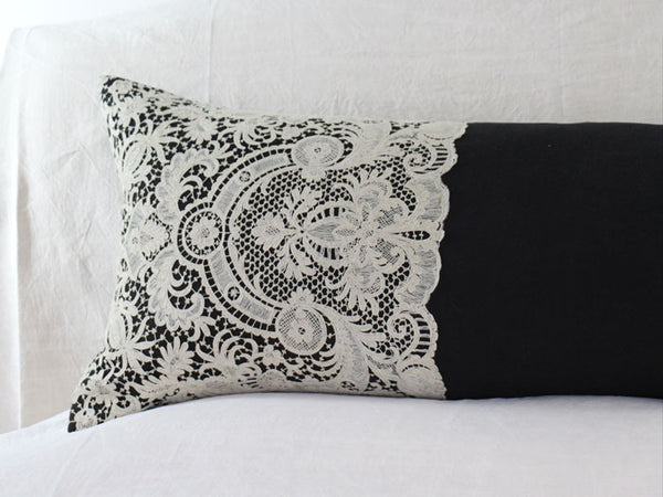 Bolsters - Ivory Edwardian lace on antique black linen bolster by Charlotte Casadéjus