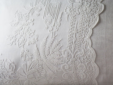 Bolsters - Antique French Scalloped Cornely on Linen