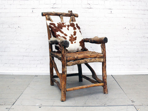 Wonderful 19th C French Folk Art Bergere's Wooden Armchair with Cowhide Cushion