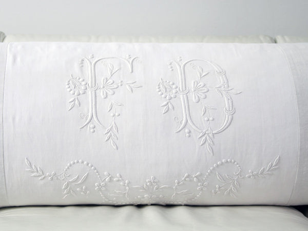 Bolsters - Antique monogram on linen bolster