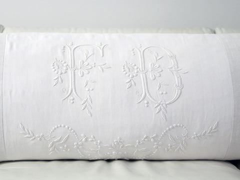 Bolsters - Antique monogram on linen bolster 'FD' by Charlotte Casadéjus