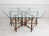 Mid Century John Wisner for Ficks Reed Bamboo & Glass Topped Dining Table