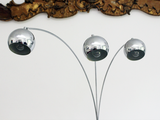 1960's Three Headed Chrome Arc Floor Light with Marble Base