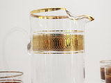 1970's French Glasses & Matching Jug Set With Gold Decoration