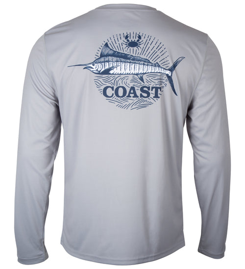 grey performance shirt with swordfish