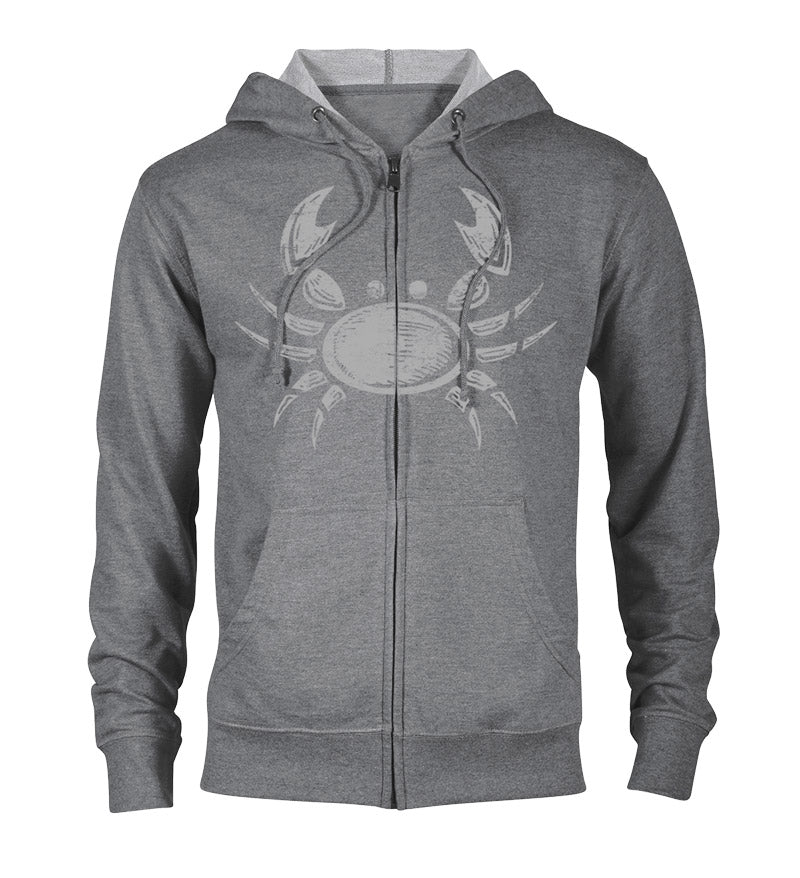 Ghost crab zip hoodie - graphite heather with white crab on front