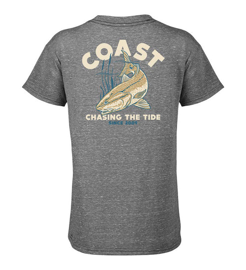 Coast Apparel Youth T-Shirt with Red Drum Fish on back