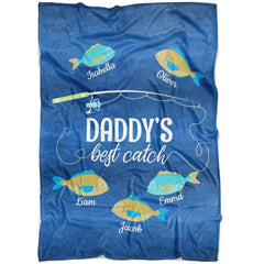 Custom Fathers Day Gift Daddys Best Catch Personalized Fleece Blanket Fisherman Gifts