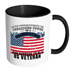 Grandfather Mug Who Happens To Be US Veteran White 11oz Accent Coffee Mugs