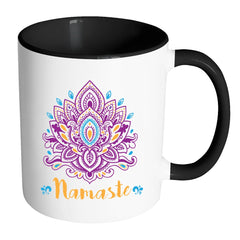 Zen Meditation Yoga Lotus Flower Mug Namaste White 11oz Accent Coffee Mugs